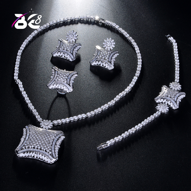 Be 8 Fashion Women's Wedding Bracelet Necklace Jewelry Set AAA Cubic Zirconia Square Shape Ring Earrings Bijoux Femme S221
