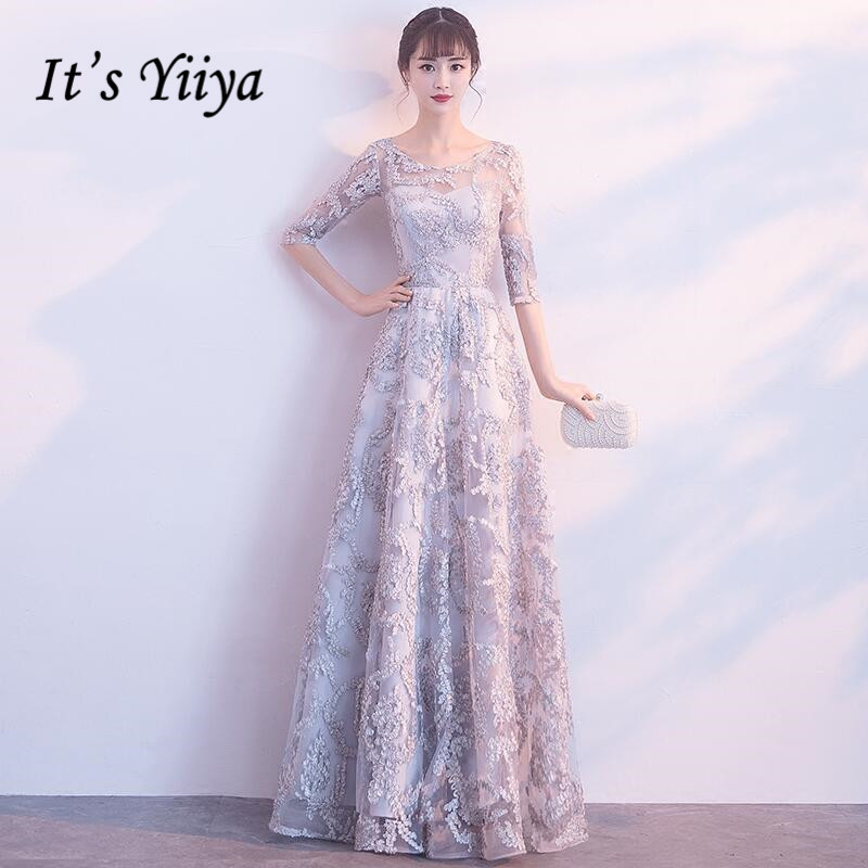 It's YiiYa Half Sleeves Appliques O-neck Elegant Tulle Flower Zipper Luxury Party Formal   Dress   Floor Length   Evening     Dress   MX005