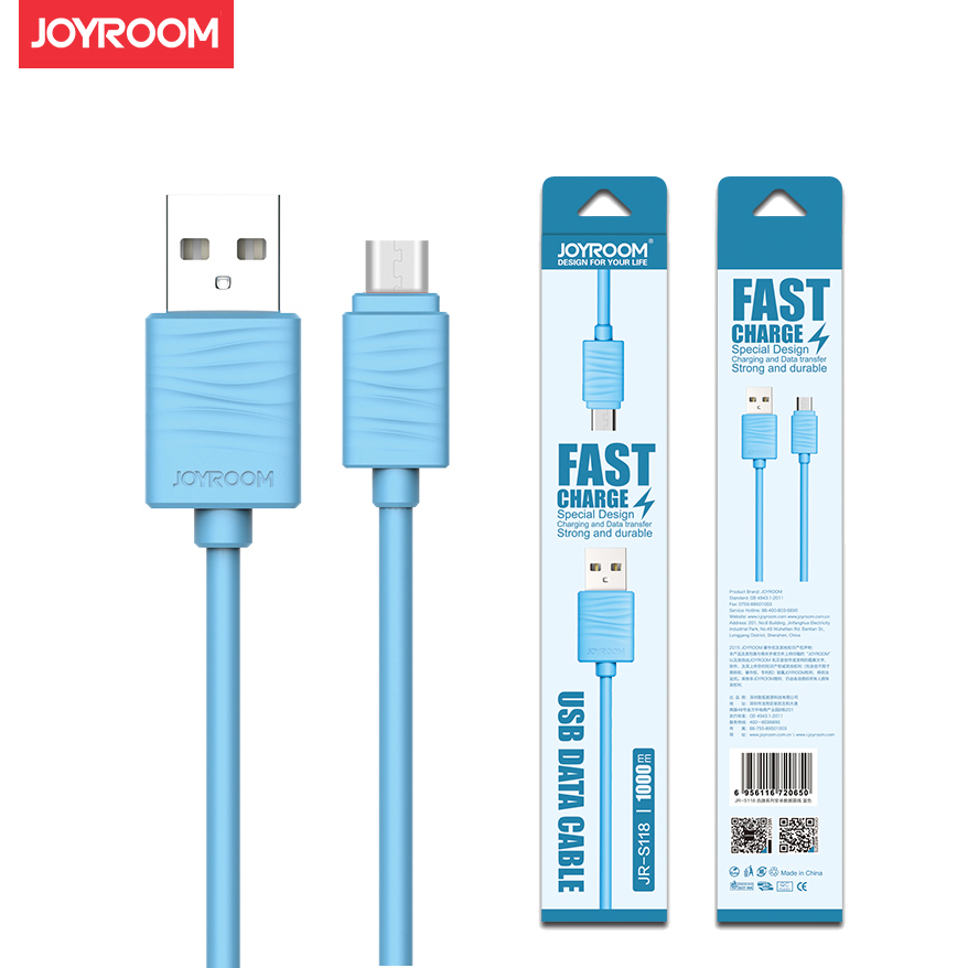Micro V8 USB Cable for Samsung Huawei Xiaomi Redmi Vivo Meizu Lenovo ZUK Gionee Charging Cable Colorful 100cm Joyroom Brand