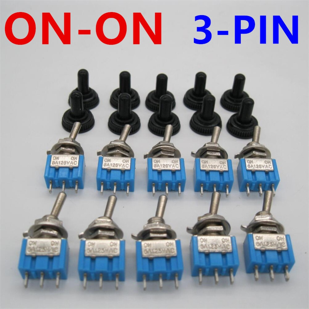 10pc Lot Blue Mini Switch Mts 102 3 Pin Spdt On On 6a