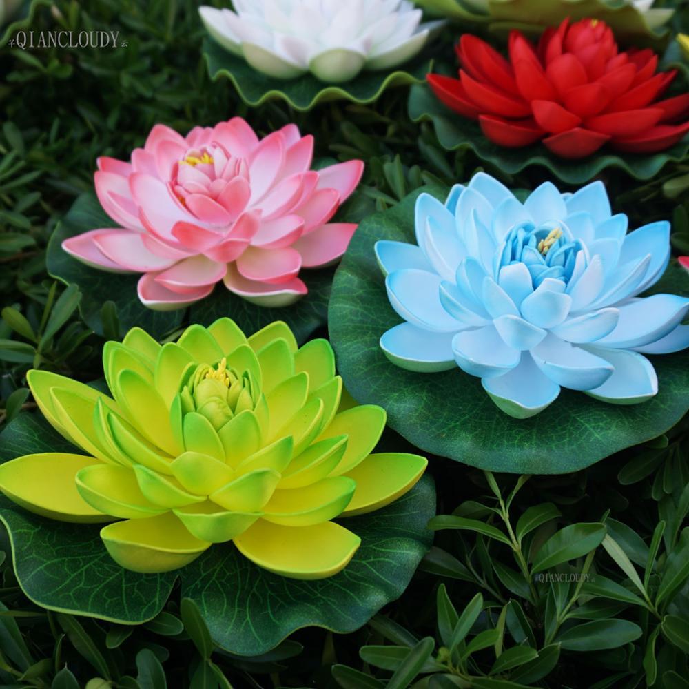 Retail Artificial Fake 17cm Foam Lotus Leaf Lily Flowers Water