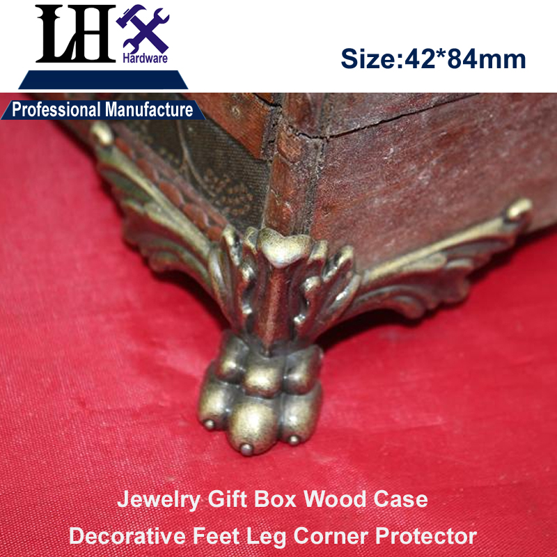 LHX YP95 Jewelry Box Leg Base Corner with Tiger Claw Bronze for Gift Wood Case Furniture Decoration Hardware DIY lhx p0fh04 1 39 57mm bronze hinge for jewelry box cabinet furniture diy family hardware