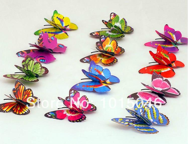 Free Shipping 10X Bistratal 3D Artificial Butterfly Decorations Craft Pin Clip Clothing Curtain Tablecloth Wedding Favor