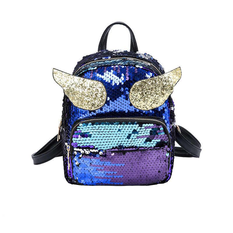 5996e52a286a Женский милый рюкзак с блестками и крыльями ангела для подростков, детский  школьный рюкзак для девочек