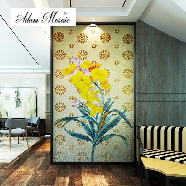 Glass Mosaic Wall Art Murals Mosaic Fireplace Bathroom