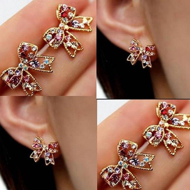 Women's Earrings Rhinestone Bowknot Colorful Vintage LASPERAL Boho Brinco