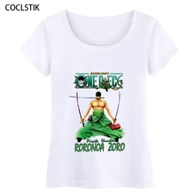 100% Cotton Women's Cool Summer Anime One Piece T Shirt Female Crossfit Fitness Luffy/Zoro Short Sleeve T-shirt ladies Tshirts