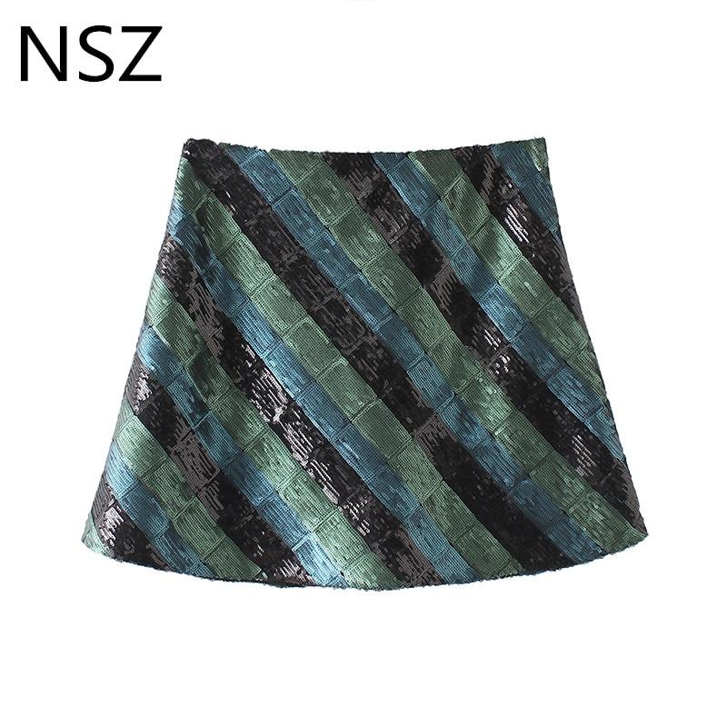 Women Sequins Mini Skirt Shining Color Block Short Skirt Checked Sexy Party Club Fashion Skirt