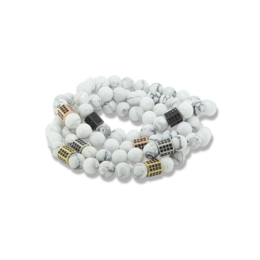 1pcs Natural charms 8mm white howlite round stone bead pave black cz zircons hexagon prism connector unisex bracelet man jewelry