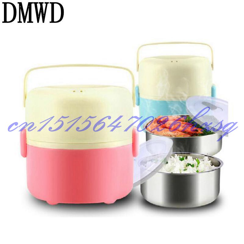DMWD Stainless steel 304 liner double layer electric heating 200W lunch box multifunctional Household cooking rice/steam/heating cukyi stainless steel 304 liner double layer electric heating lunch box multifunctional household cooking rice steam heating