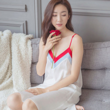 2017 Sexy Lingerie Female Lace Silk Night Dress Princess Vintage White Nightgown Summer Sling Sleepwear Sweet Dresses