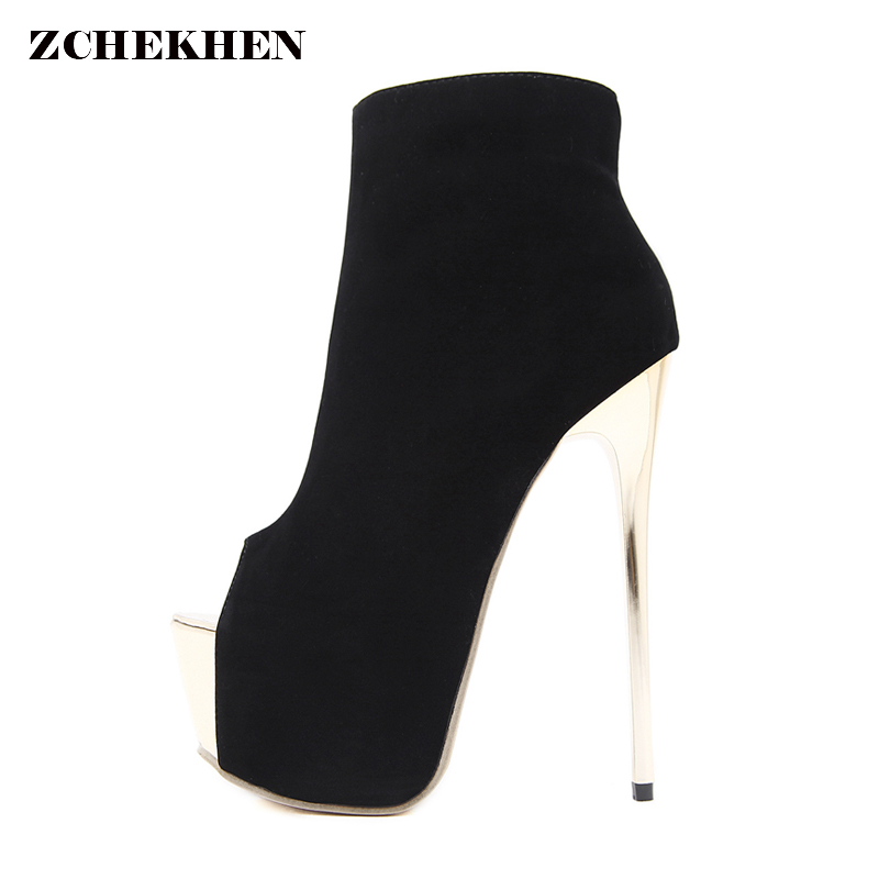 Women ankle Boots 2018 Fashion Europe  Peep Toe Socks Bootie metal Thin High Heels Boots Sapatos Pumps kardashian