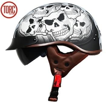 Electric Bicycle TORC T55 Vintage Half Face Motorcycle Helmet Casco Casque Moto For Harley Retro DOT Electric motorcar Helmets Маникюр