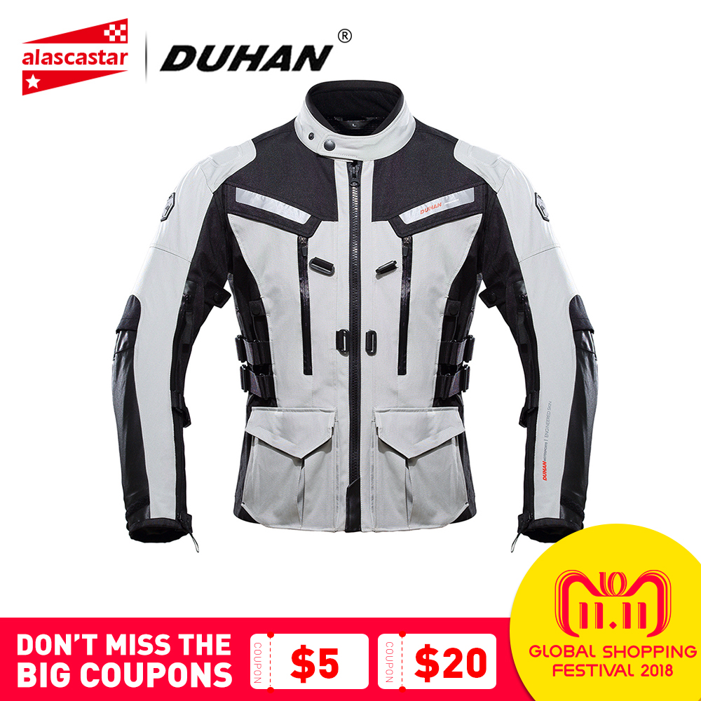DUHAN Motorcycle Jacket Men Touring Travel Riding Waterproof Motocross Off-Road Racing Raincoat and Protective Gear Moto Jacket riding tribe motorcycle jacket protective gear men waterproof moto jacket winter keep warm motocross off road racing clothing