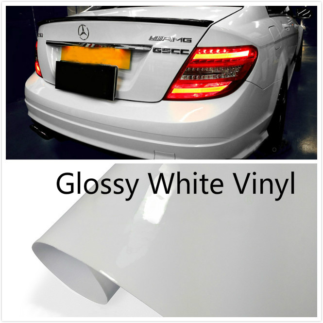 600mmx1520mm  Glossy white  Auto Car Styling Car and motorcycle sticker Vinyl Wrap Film Adhesive Air Release Sticker Decal Sheet 40cmx200cm car styling 3d 3m carbon fiber sheet wrap film vinyl car stickers and decals motorcycle automobiles car accessories