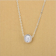 TJP Wholesale Lady 925 Sterling Silver Clavicle Necklace For Girl Party Bijou Trendy Lucky Ball Pendants Women Gift