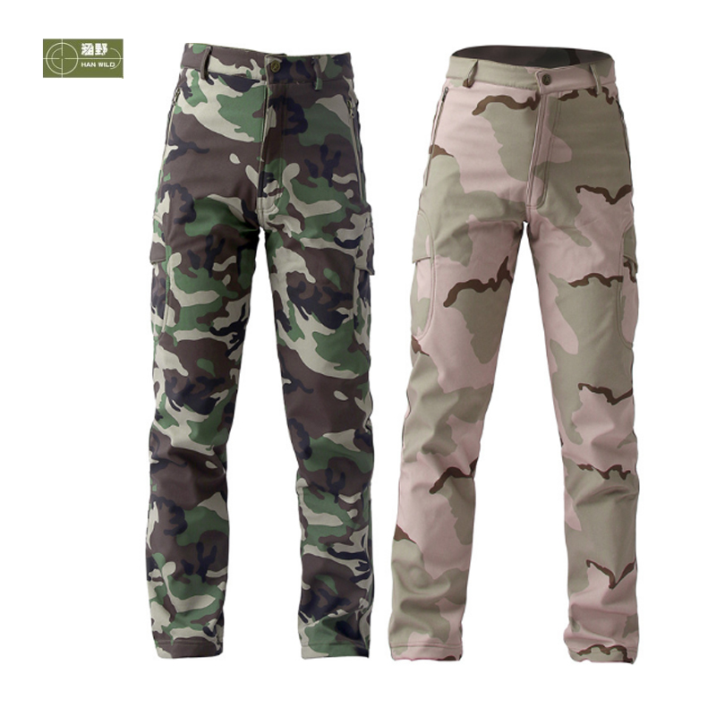 HANWILD Softshell Men's Trousers Winter Camouflage Military Tactical Pants Army Trekking Hiking Camping Hunting Training 3XL P8