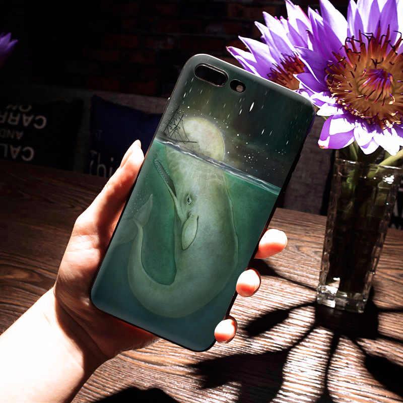 MaiYaCa море и Кит Черный Мягкий ТПУ силиконовый Новинка Fundas аксессуары для телефонов Чехол для iPhone 5S 6s 7 plus 8 8plus X Чехол