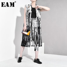 [EAM] 2020 New Spring Autumn Lapel Sleeveless Black Striped Split Joint Mesh Loose Temperament Vest Women Fashion Tide JT184(China)