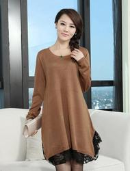 loose plus size clothing knitted one-piece dress medium-long maternity lace wool basic shirt 3