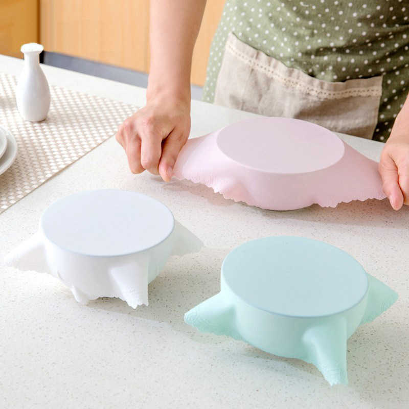B Silicone Bowl Cover Lid Refrigerator Preservative Film Reusable Stretchable Food Container Seal Cover Kitchen Baking Mat Tool