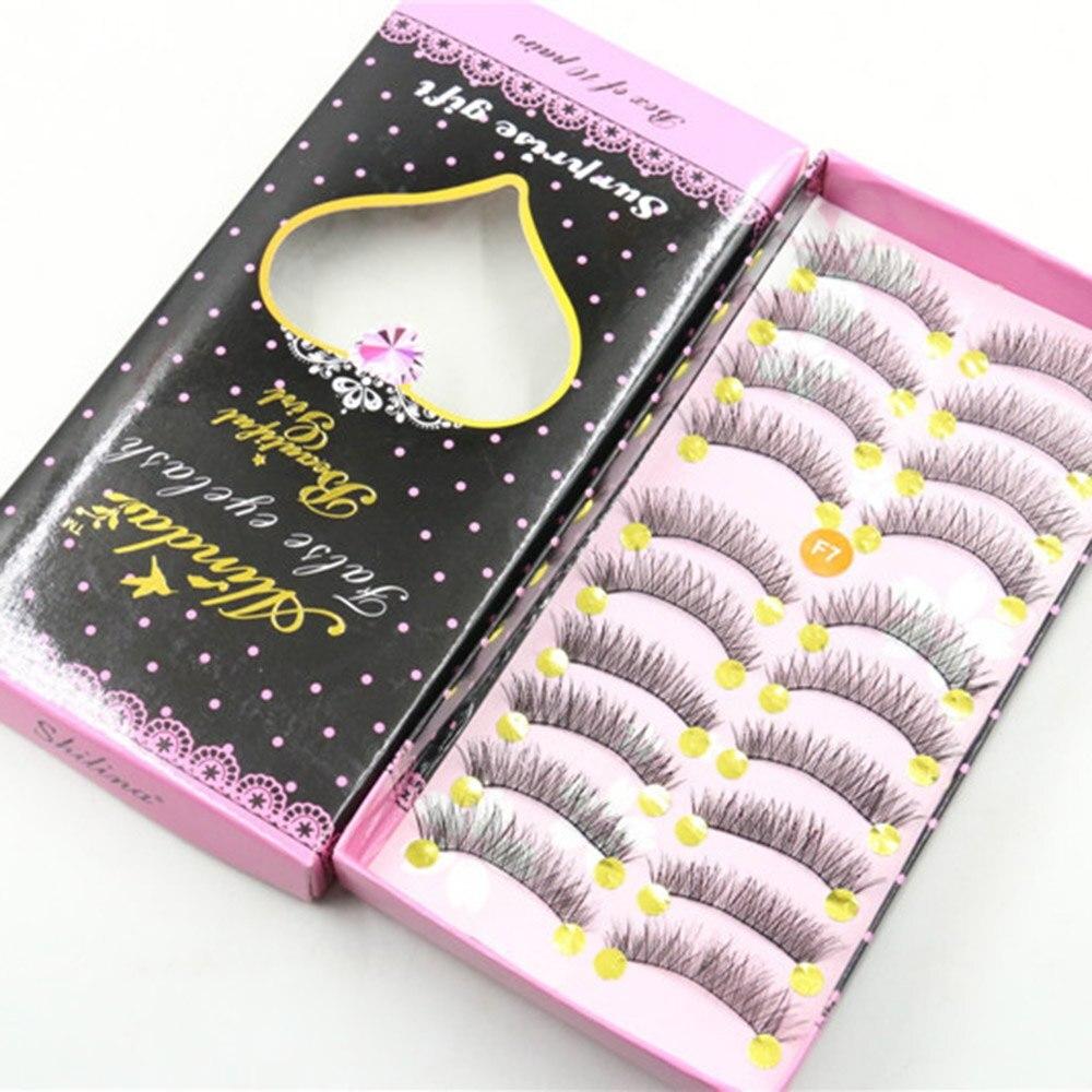 10 Pairs Long Black False Eyelashes Handmade Natural Cross Fake Eyelashes Perfect Criss Cross Eye Lashes with Box for Women