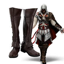 Game Ezio Auditore zapatos de Cosplay, botas a medida, color marrón