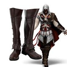 Jeu Ezio Auditore Cosplay chaussures marron bottes sur mesure