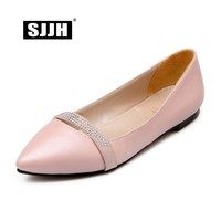 SJJH 2018 Woman Ballet Flats with Pointed Toe Soft Leather Comfortable Footwear Fashion Casual Formal Shoes Large Size S166