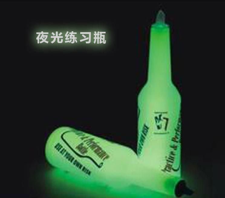 Kitchen Dining Barware Bar Tools transparent plastic ABS fluorescent fancy bartender cocktail practice bottle free shipping
