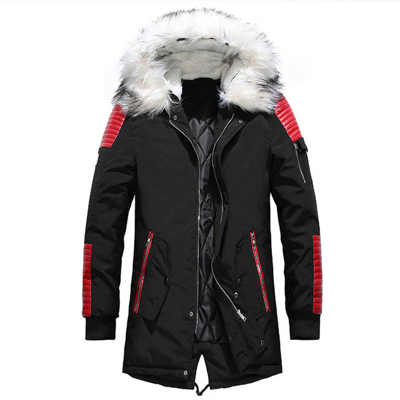 Mens   Parka   Coat Windbreakers Long   Parkas   Winter Male Thick Cotton-padded Outwear Overcoat Mens Coats Jackets Young Design 1434