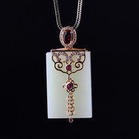 S925 silver and jade pendant natural simple woman show ingenuity with certificate of free shipping jewelry