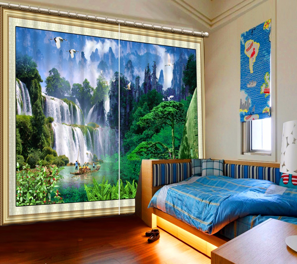 Chinese Large Waterfall 3D Curtains Window Treatments Bedroom Living Room Curtains Drapes Polyester/Cotton Blackout Curtains Chinese Large Waterfall 3D Curtains Window Treatments Bedroom Living Room Curtains Drapes Polyester/Cotton Blackout Curtains
