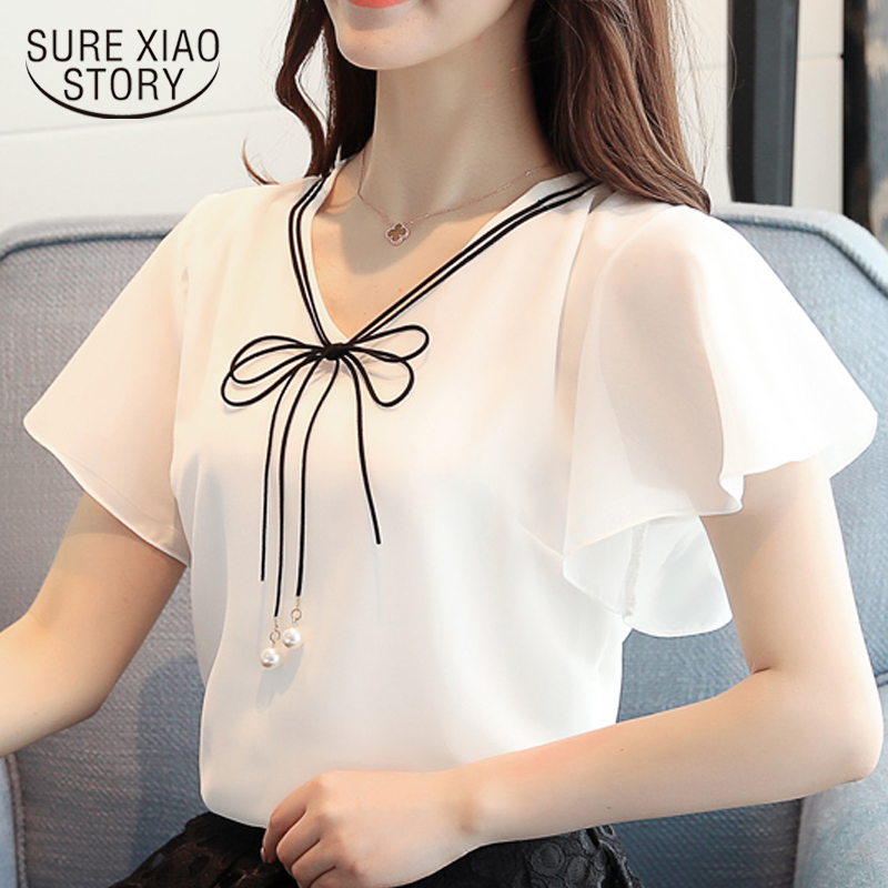 3XL 4XL Plus size tops   blouse   women summer chiffon   blouse     shirts   women short sleeve ladies tops womens tops and   blouses   4354 50