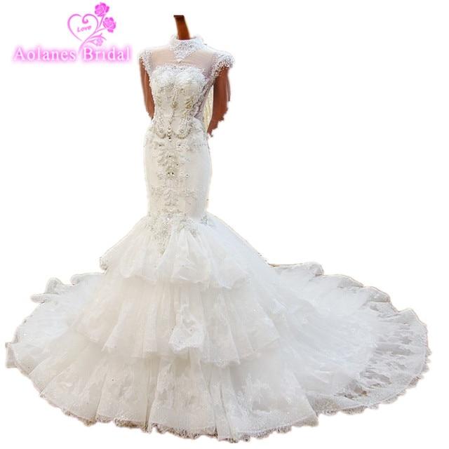 Custom Made Real Sample 2018 Mermaid Bridal Dress High Neck Crystal Beading Luxury Sexy Long Sleeves bridal Gowns Wedding Dress