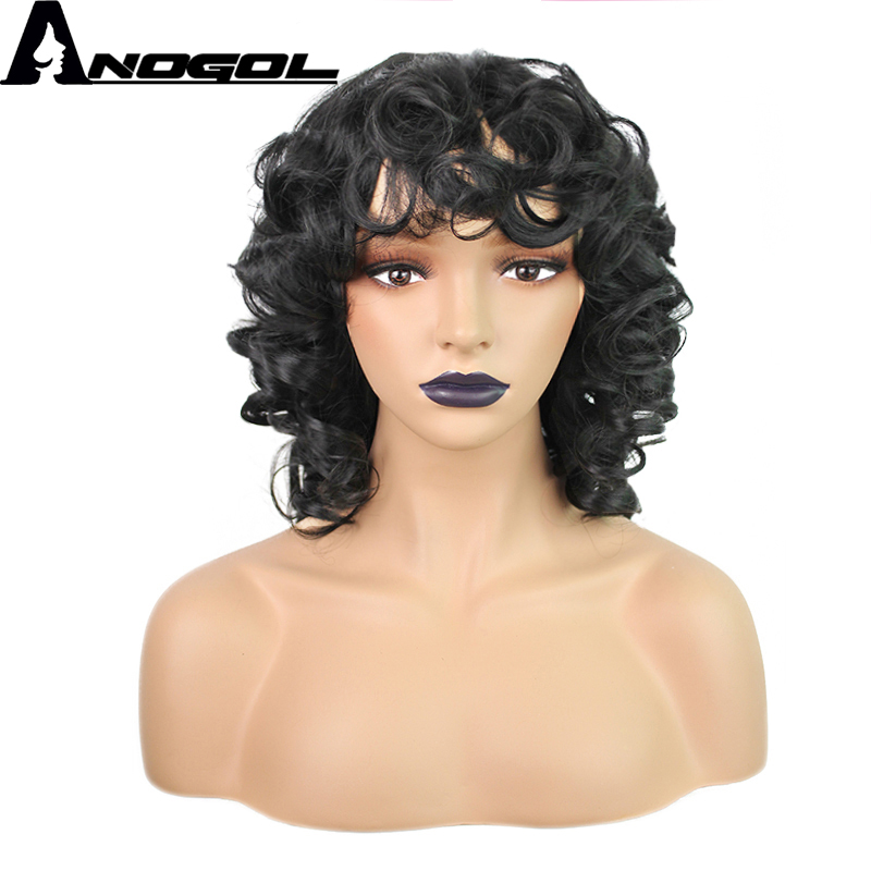 Anogol Glueless High Temperature Fiber Kinky Curly Short Black Bob Synthetic Wigs For African American