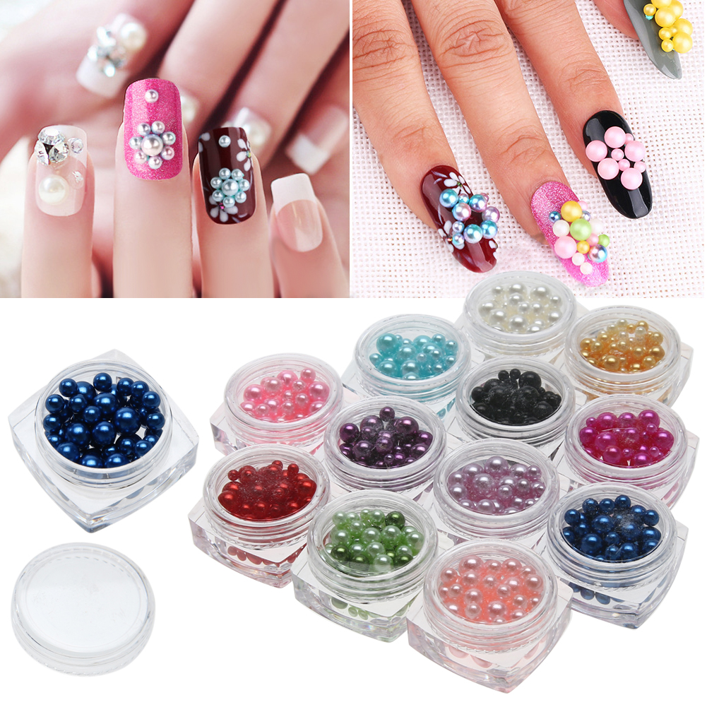 12 Colors Mix Size Pearl Beads Fashion Design Mermaid Gradient Charms Beads Wheel Nail Art 3D Tips Decoration Rhinestones artlalic nail art tiny steel caviar beads mix size 3d design manicure jewelry rose gold silver diy decoration wheel wholesale