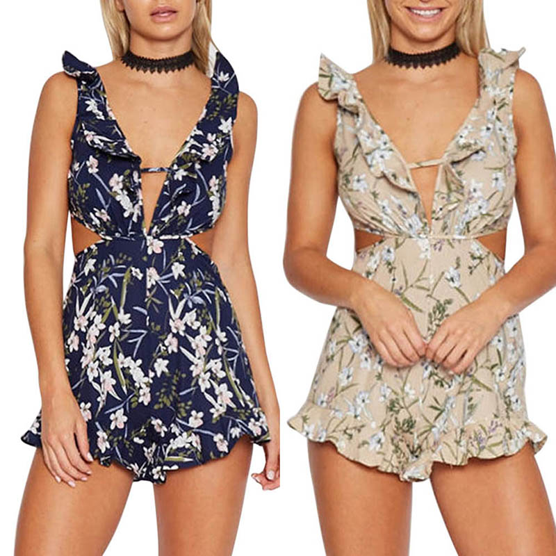 Fashion Women Sexy Jumpsuits Ruffle Backless Backless Flower Printed Deep V Summer Beach Casual Ladies Short Jumpsuit FS