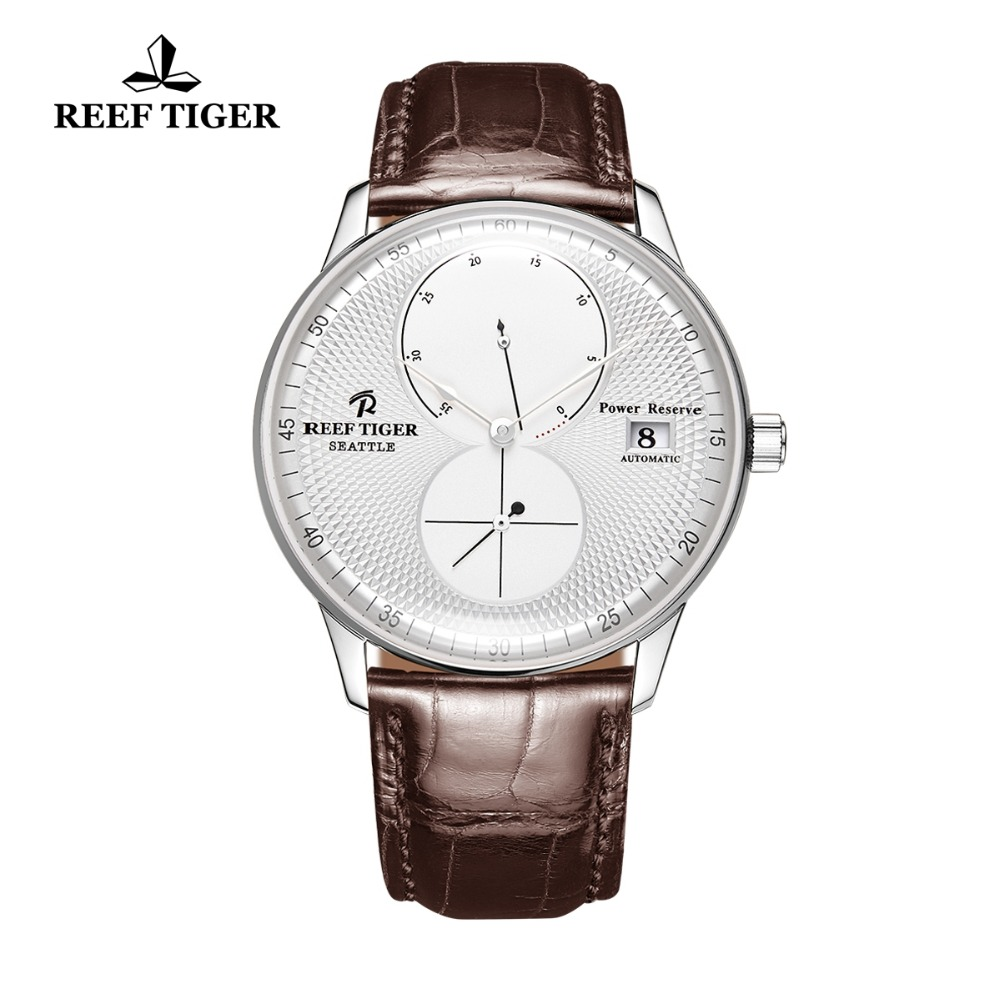 Reef Tiger/RT Designer Watches for Men Steel Brown Leather Strap Watches Luxury Automatic Watches Relogio Masculino RGA82B0Reef Tiger/RT Designer Watches for Men Steel Brown Leather Strap Watches Luxury Automatic Watches Relogio Masculino RGA82B0
