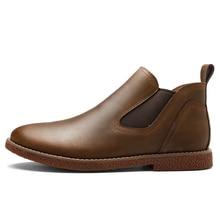 2016 новый Ручной Мода мужчины повседневная бизнес обувь Из Натуральной Кожи рабочая обувь лодыжки обувь открытый водонепроницаемый плоских приводных обуви