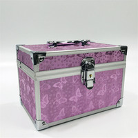 Professional Aluminium Alloy Make Up Box Pink Butterfly Makeup Case Beauty Case Cosmetic Bag Multi Tiers