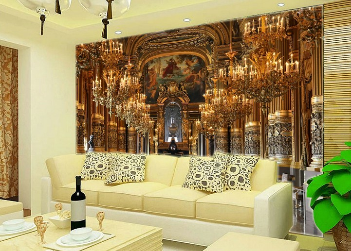 Popular Living Room Golden WallpaperBuy Cheap Living Room Golden - Golden living room