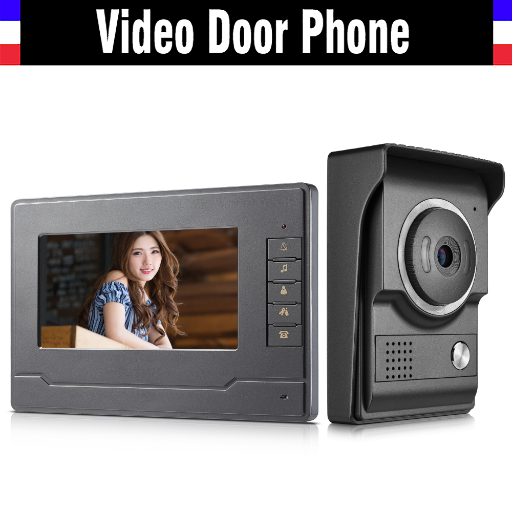 7 Inch Video Door Phone System Video Intercom Doorbell Doorphones Kit 1 LCD Monitor+1 IR Night Nision Camera For Home Villa