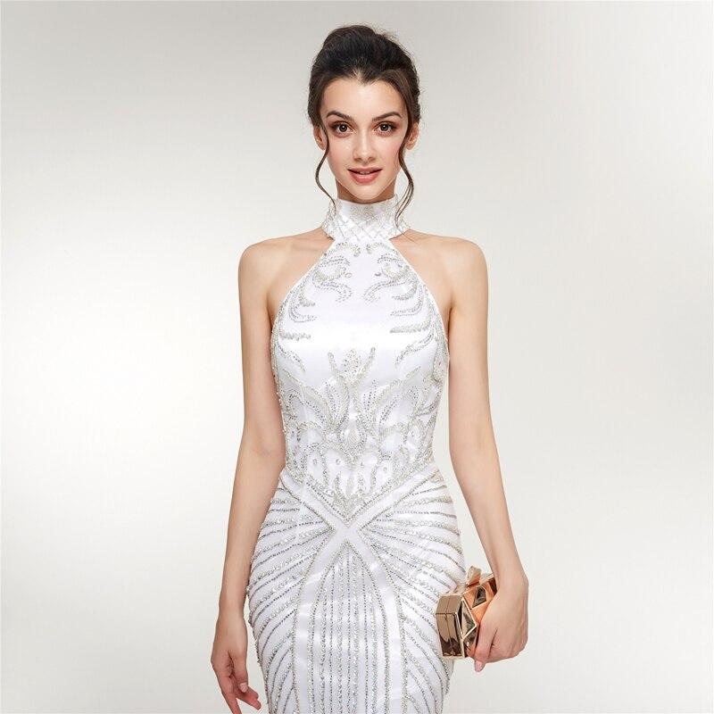 2019 New Mermaid  Evening Dress White Elegant Halter Sleeveless Party Gown Long Beading Crystal Tull vestido de festa Keyhole