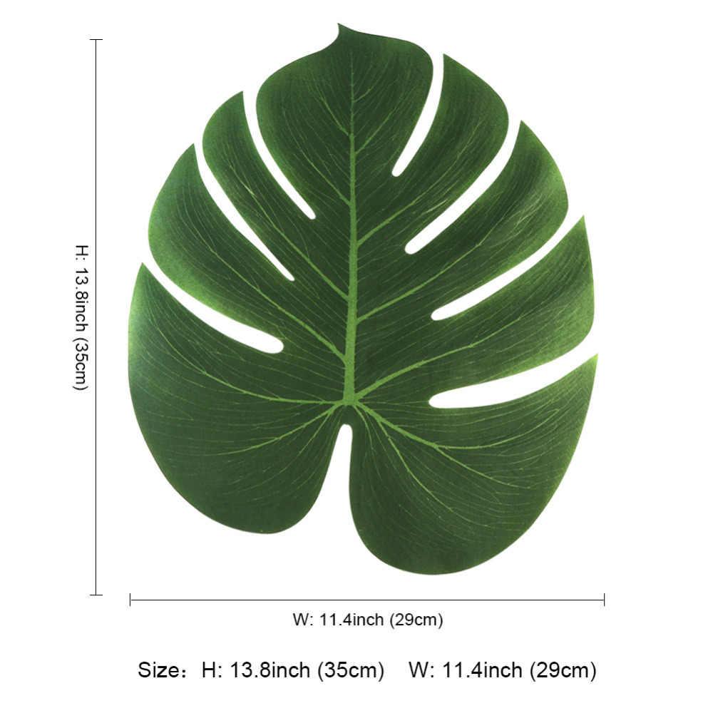 12pcs 35 centímetros Hawaiian Luau Festa de Verão Falso Artificial Folhas de Palmeira Planta Jardim Tropical de Mesa Festa de Casamento Decoração de Mesa
