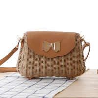 Women Straw Rattan Bag Bali Female Bohemian Beach Shoulder Bags Crossbody Lady Hand Bag Sweet Handmade Basket Bag 2018 handbag