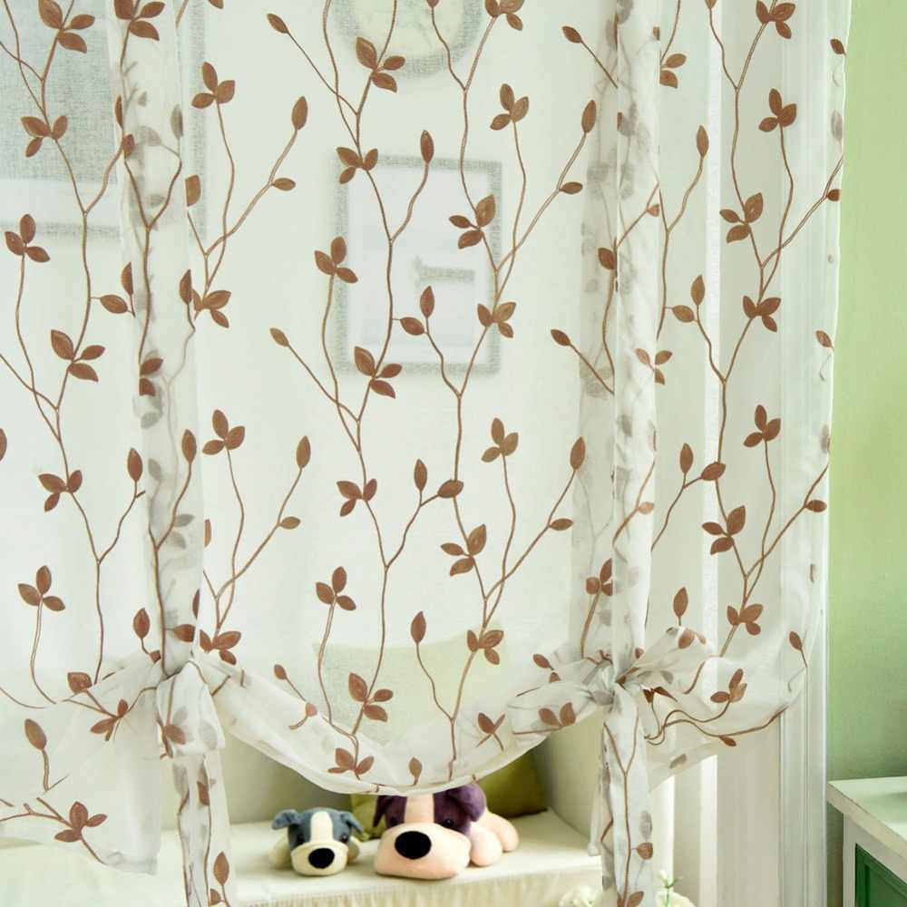 LOZUJOJU Free shipping Made Embroidered leave rod pocket brown ready roman for white door curtain short blinds curtains balloon