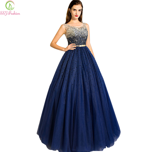 aae3c4740992 Robe de soiree ssyfashion vestito da sera della sposa banchetto blu navy  paillettes perline di cristallo
