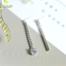 Flyleaf 925 Sterling Silver Earrings For Women Personality Asymmetric Vertical Zircon Earings Fashion Jewelry Simple