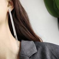 925 Sterling Silver Tassel Zirconium Stone Ear Nail Simple Fashion Ear Pendant